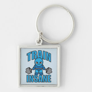 TRAIN INSANE Kawaii Weightlifter Deadlift Workout Silver-Colored Square Key Ring