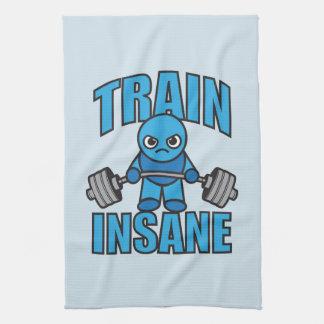 TRAIN INSANE Kawaii Weightlifter Deadlift Workout Tea Towel
