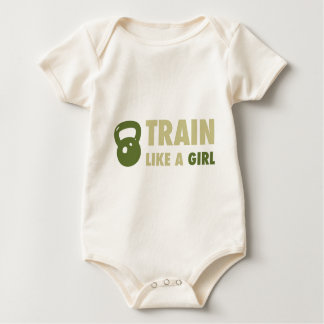 Train Like A Girl With Kettlebell Baby Bodysuit