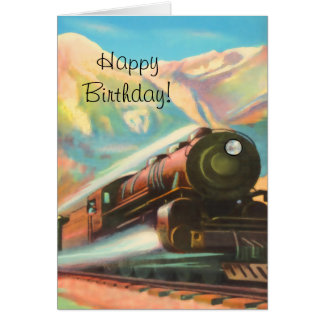 Train Locomotive Happy Birthday Card