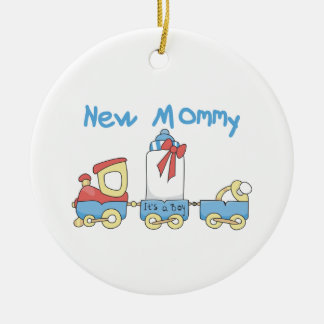 Train New Mommy It's a Boy Gifts Ceramic Ornament