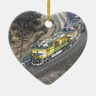 Train on the Tehachapi Loop Ceramic Ornament
