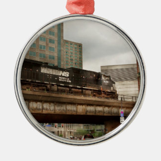 Train - Pittsburg Pa - The industrial city Silver-Colored Round Decoration