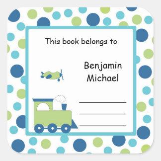Train Plane Book Plate Label Blue Green Dot