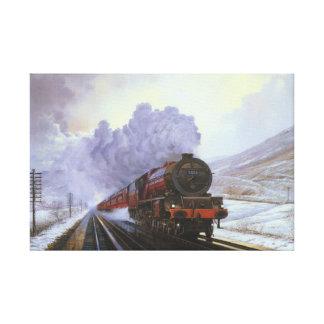 Train Snow Winter Painting  Smoke Canvas Print
