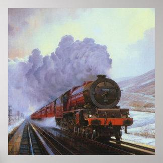 Train Snow Winter Painting  Smoke Poster