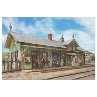 Train Station - Garrison train station 1880 Tissue Paper