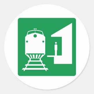 Train Station Highway Sign Round Sticker