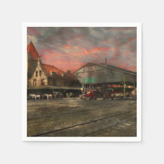 Train Station - NY Central Railroad depot 1905 Disposable Napkin