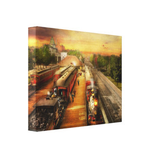 Train Station - The romance of the rails 1908 Canvas Print