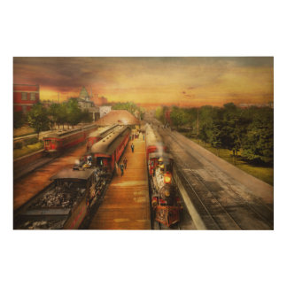 Train Station - The romance of the rails 1908 Wood Print