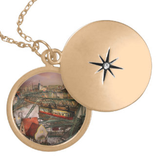 Train Station - Wuppertal Suspension Railway 1913 Gold Plated Necklace