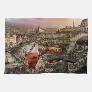 Train Station - Wuppertal Suspension Railway 1913 Tea Towel