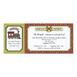 Train Ticket Invite - Fall Autumn Apple Colours 10 Cm X 24 Cm Invitation Card