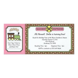 Train Ticket Invite - Pink & Brown