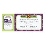 Train Ticket Invite - Purple and Green 10 Cm X 24 Cm Invitation Card