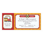 Train Ticket Invite - Yellow & Red 10 Cm X 24 Cm Invitation Card