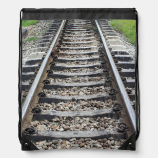 Train Tracks Along Grass Closeup Drawstring Bag