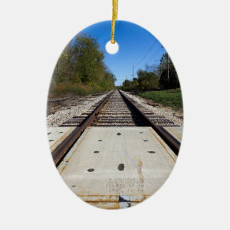 Train Tracks Oval-Shaped Ornament2 Ceramic Oval Decoration