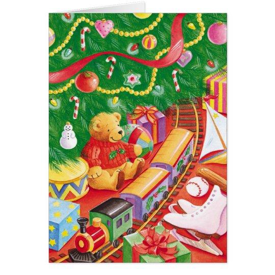 Train under tree Christmas customisable card