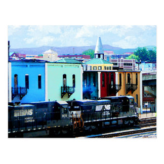Train with Two Locomotives Roanoke, VA Postcard