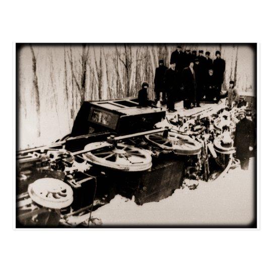 Train Wreck at Harbour Beach Michigan Postcard