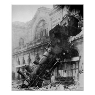 Train Wreck at Montparnasse Poster