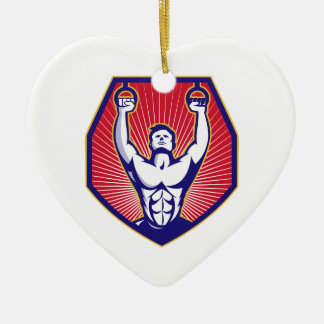 Training Athlete Rings Retro Ceramic Ornament