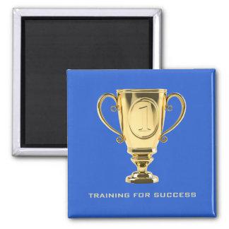 Training success golden trophy blue magnet