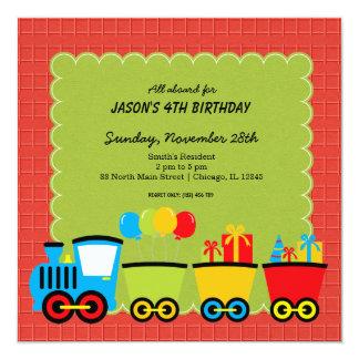 Trains Birthday theme 13 Cm X 13 Cm Square Invitation Card