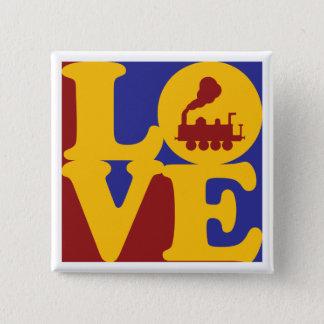 Trains Love 15 Cm Square Badge