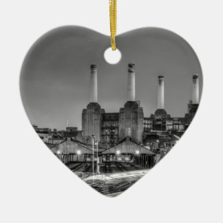 Trains pass Battersea Power Station, London Ceramic Ornament