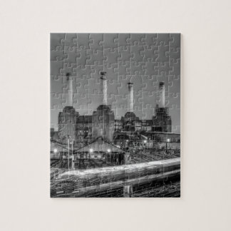 Trains pass Battersea Power Station, London Jigsaw Puzzle