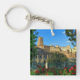 Trajan's forum, Traiani, Roma, Italy Double-Sided Square Acrylic Key Ring