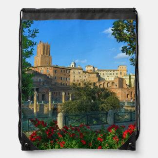 Trajan's forum, Traiani, Roma, Italy Drawstring Bag