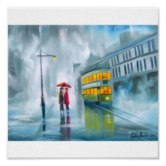 Tram oil painting rainy day umbrella poster