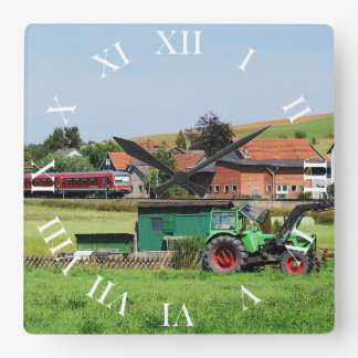 Tramcar in death living square wall clock