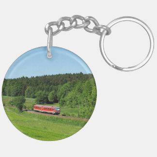 Tramcar with meadow field key ring