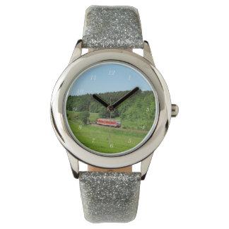 Tramcar with meadow field watch