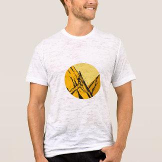 Trampers Climbing Steep Path Mountain Oval Woodcut T-Shirt