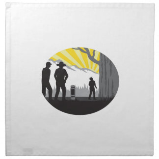 Trampers Mile Marker Giant Tree Oval Woodcut Napkin