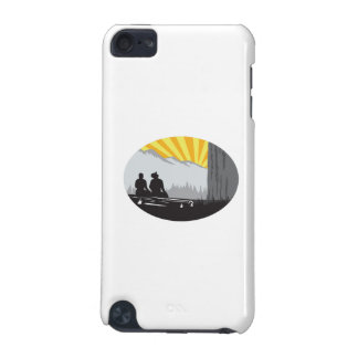 Trampers Sitting Looking Up Mountain Oval Woodcut iPod Touch 5G Covers