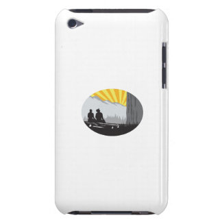 Trampers Sitting Looking Up Mountain Oval Woodcut iPod Touch Cover