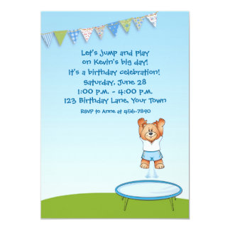 Trampoline Bear Birthday 13 Cm X 18 Cm Invitation Card