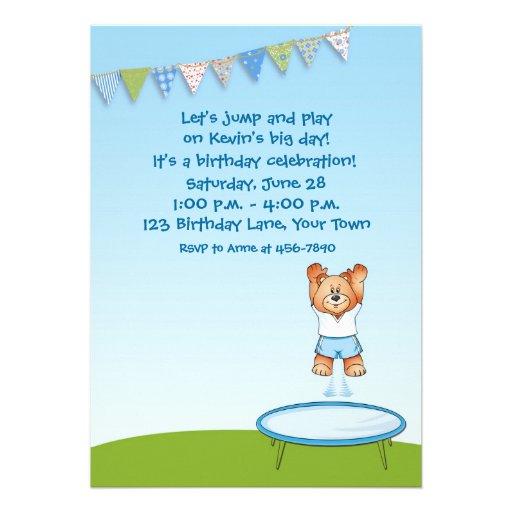 Trampoline Bear Birthday Invitation