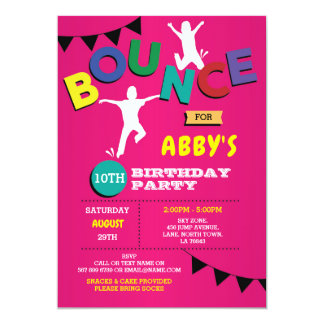 Trampoline Birthday Invitation Jump Bounce Party