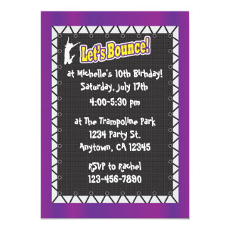 Trampoline Birthday Party Invitation Purple