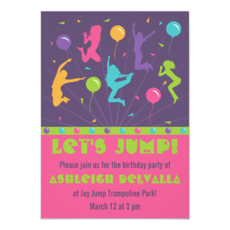 Trampoline Birthday Party Invitations for Girls