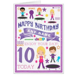 Trampoline Bounce Jump Personalised Birthday Card