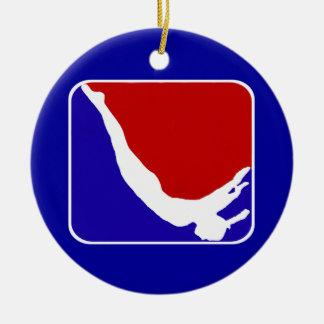 Trampoline gymnast round ceramic decoration